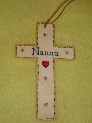 SALE** was £1.99 Nanna Memorial Cross Hanger for wall or tree Christmas Birthday Angelversary In Memory Unique Sign Ready To Despatch